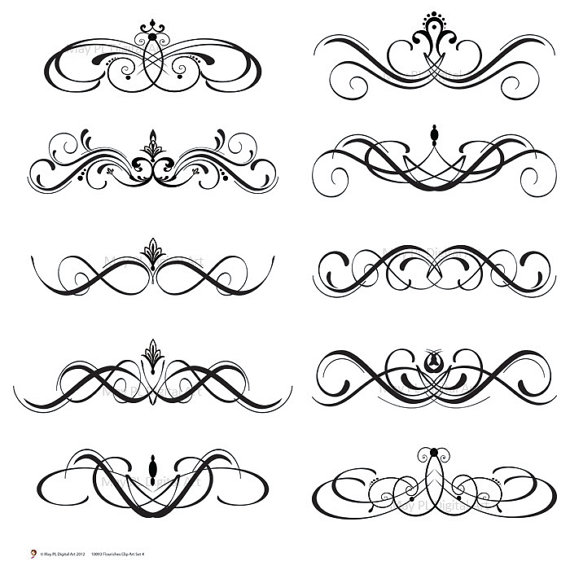 Calligraphy clipart classic Clip Digital Clipart Art Vintage