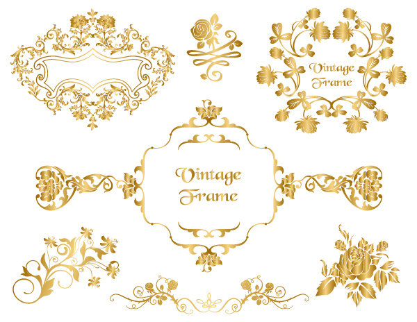 Scroll clipart gold Gold Floral Digital Flourish Frame