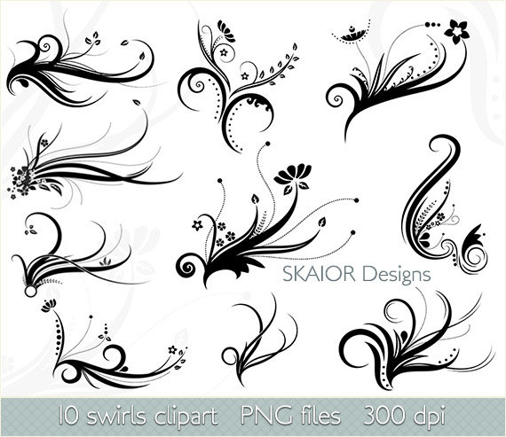 Swirl clipart silhouette Digital Swirls Clipart Like Swirls