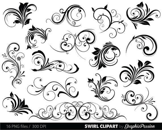 Swirl clipart silhouette Brushes Vector Silhouette Art Clip