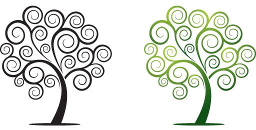 Tree clipart swirly #6