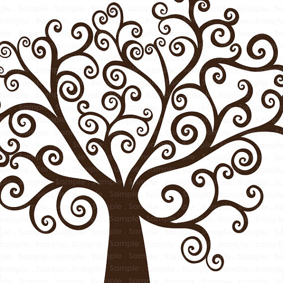 Swirl clipart tree Tree ClipArt Digital Silhouette Swirly