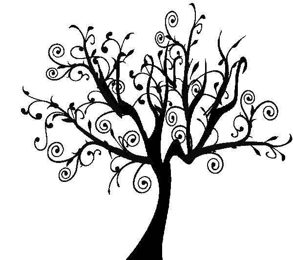 Tree clipart swirly #4
