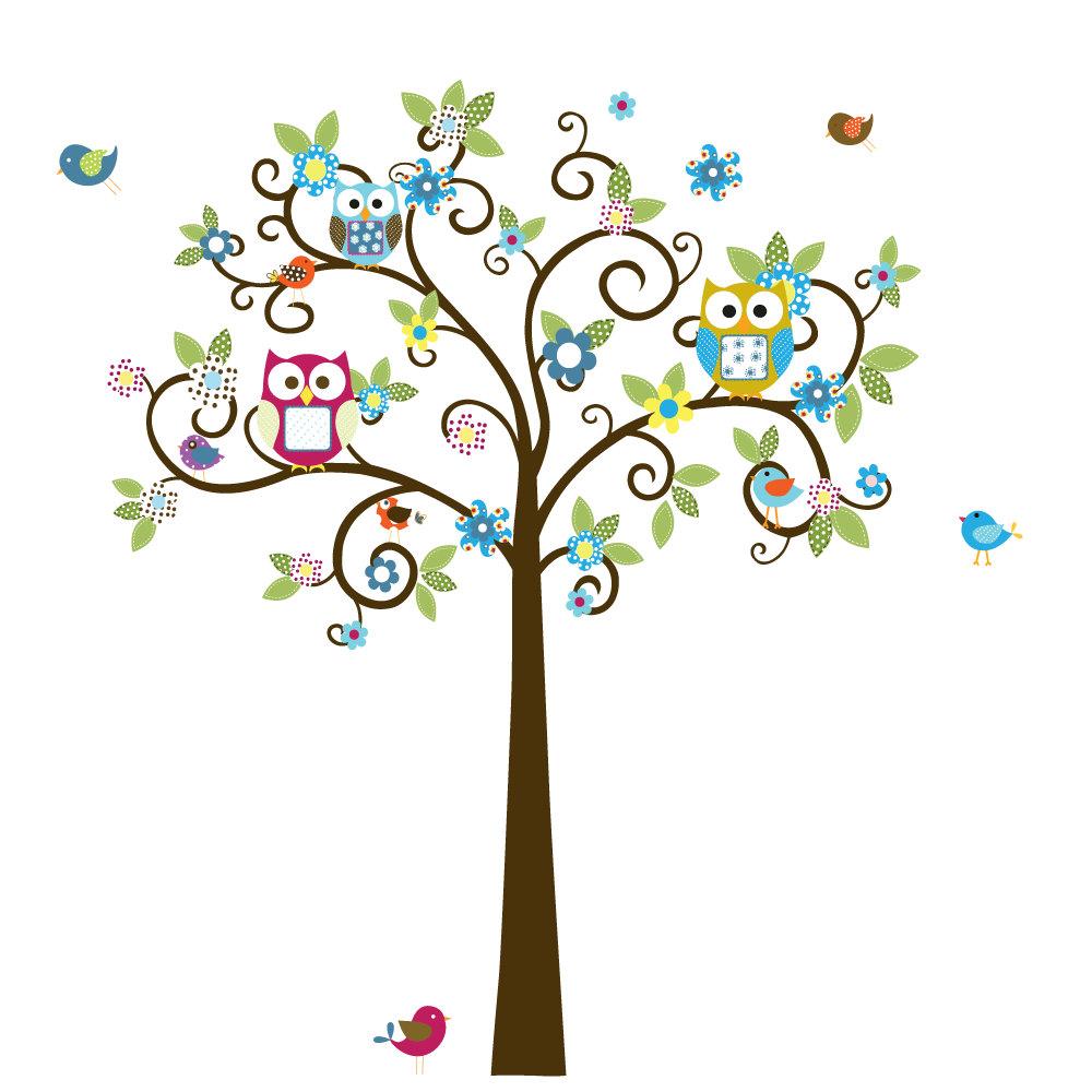Swirl clipart tree Wall Owls Nursery and Vinyl