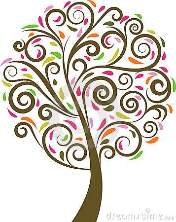 Tree clipart swirly #2