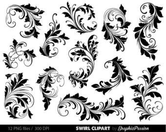 Drawn swirl silhouette Clip Art Clip Flourish element