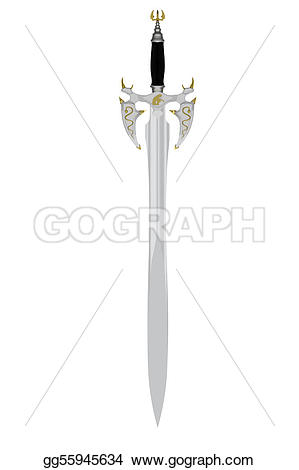 Sword clipart vertical Stock white on isolated matted
