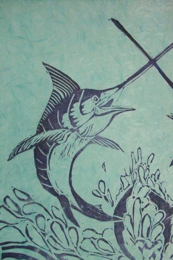 Swordfish clipart xiphias X is Block Linocut item?
