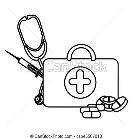 Treatment clipart health Stethoscope of suitcase health figure