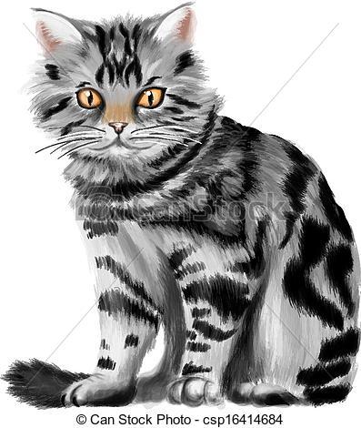 Tabby Cat clipart Vector Vector of kitten tabby