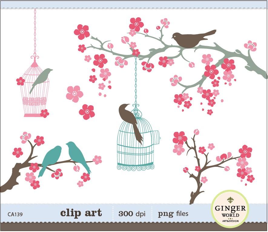 Sakura clipart bird cute #2