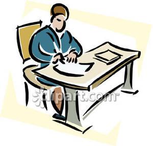 Desk clipart man at Man At At Table Download