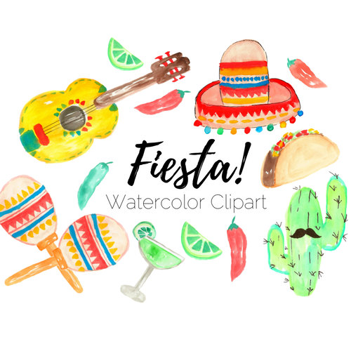 Taco clipart fiesta De Fiesta Watercolor clip Etsy