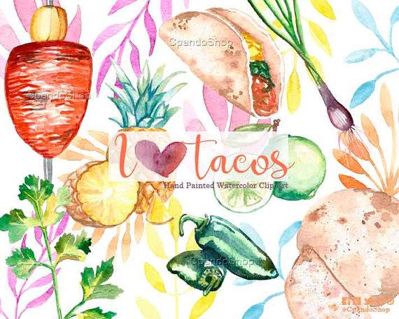 Taco clipart fiesta Clipart Taco watercolor clipart on