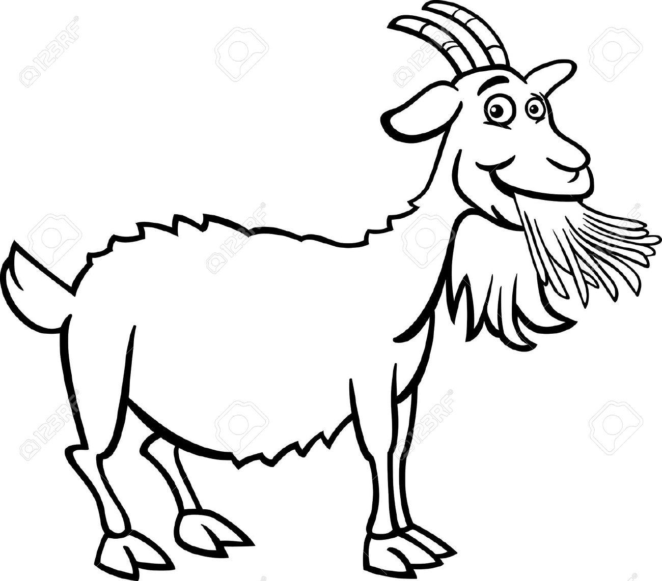 Black & White clipart goat And white of black Clipart