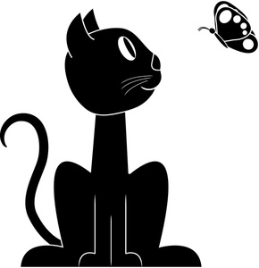 Cat clipart butterfly And cartoon Cute watching kitty