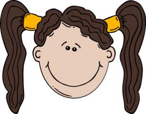 Brunette clipart pigtail With Girl Cartoon Clip Face
