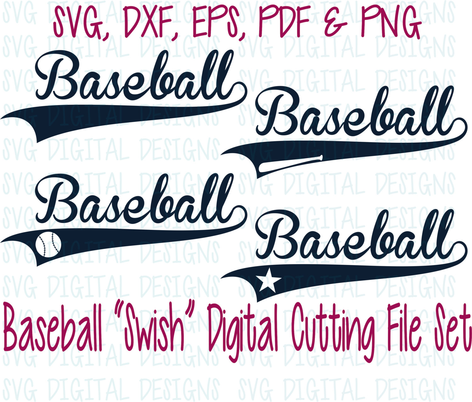 Word clipart baseball Text Customize Design Digital with