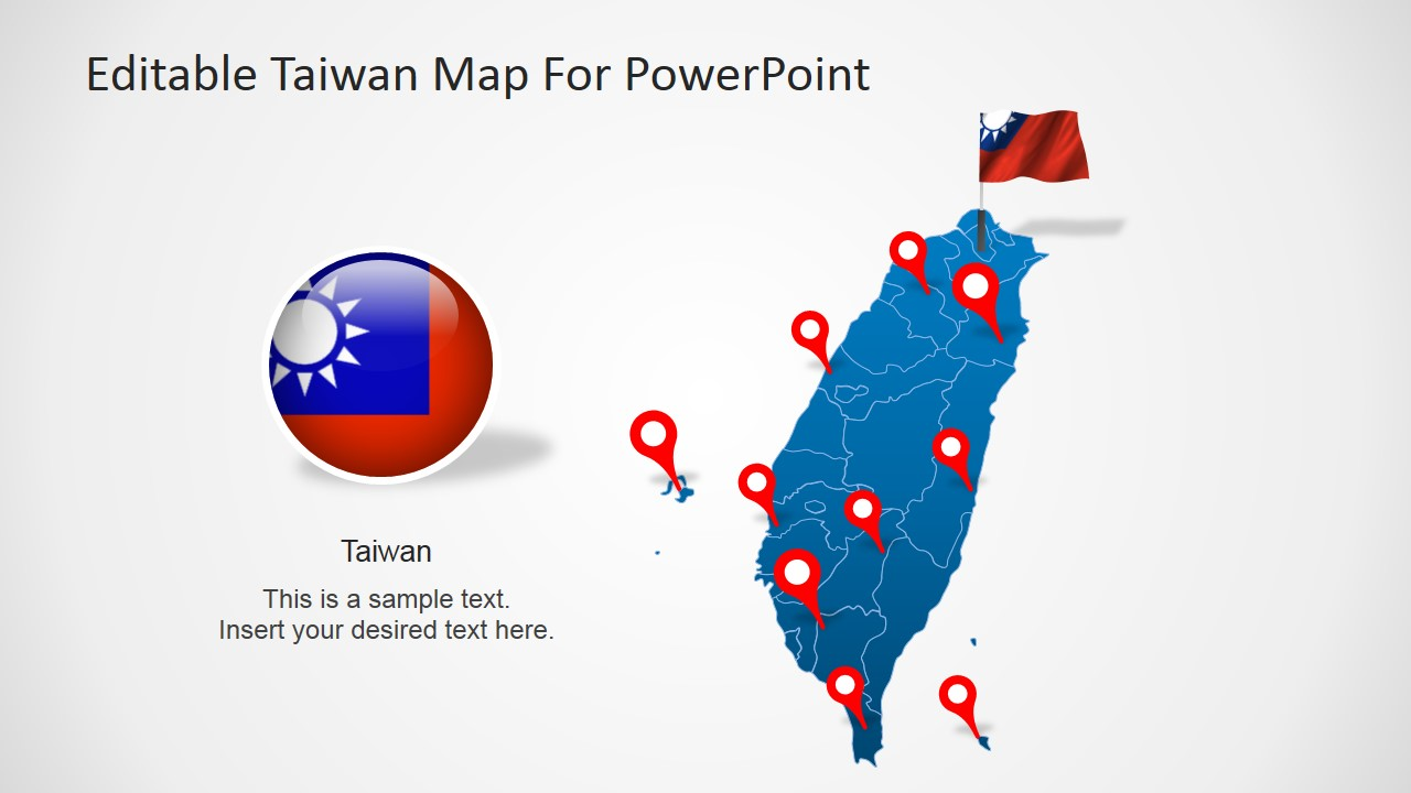 Taiwan clipart Editable Clipart with SlideModel Map
