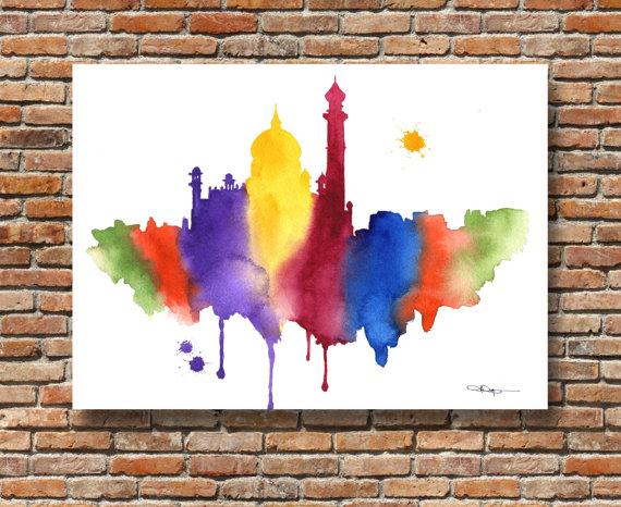 Taj Mahal clipart abstract Painting Watercolor Taj Taj Painting