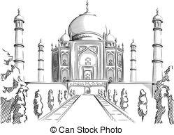 Taj Mahal clipart black and white An  Sketch  Landmark