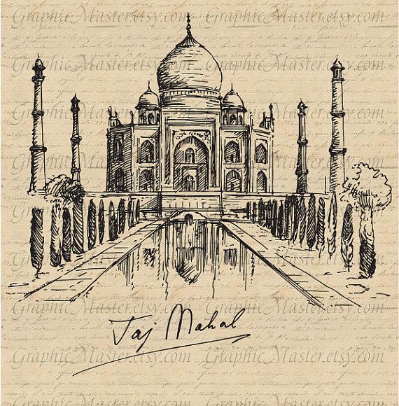 Taj Mahal clipart vintage Digital Transfer View on bags