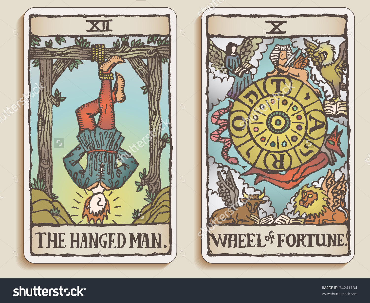 Tarotcards clipart hand drawn Fortitude cards textured Tarot hand