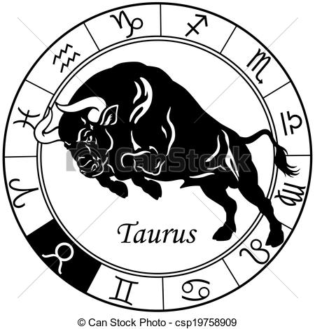 Astrology clipart circle  or taurus Vector white