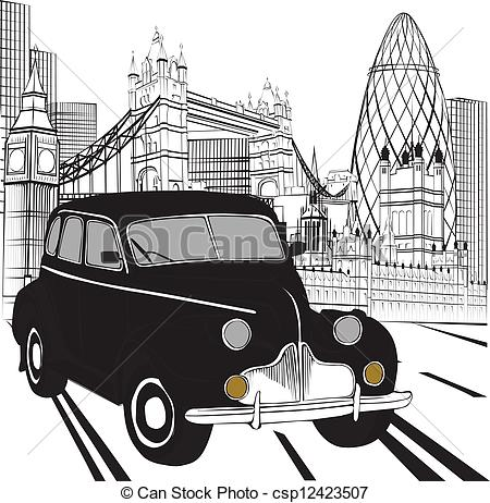 Taxi clipart london  London Sketch London the