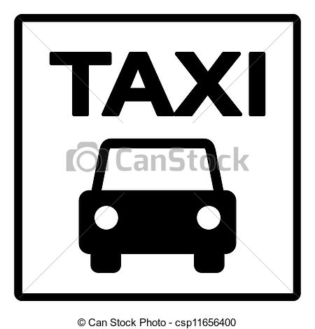 Taxi clipart silhouette Stock White sign  Sign