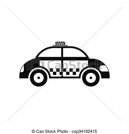Taxi clipart simple Vector icon Art black icon