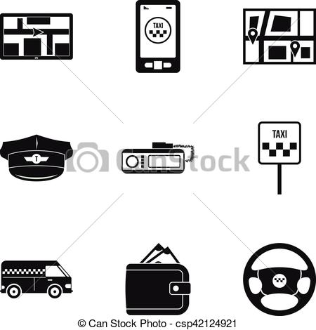 Taxi clipart simple Style icons Vector Call set