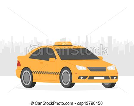 Taxi clipart simple Front simple Yellow city illustration