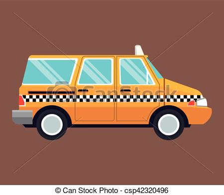 Taxi clipart van Of vector side  side