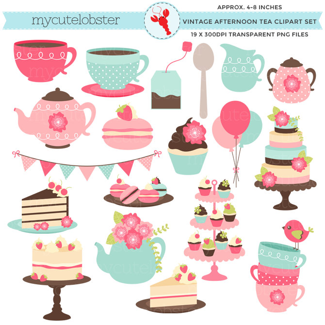 Pastry clipart cream tea Afternoon tea party Tea clip