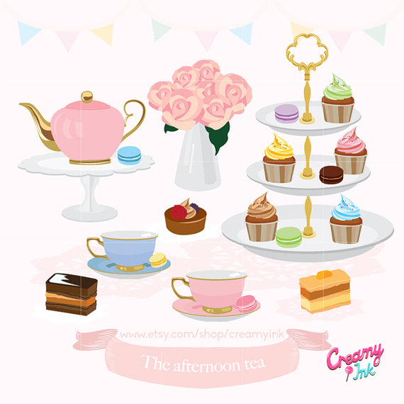 Teapot clipart cream tea Afternoon Party Clip /