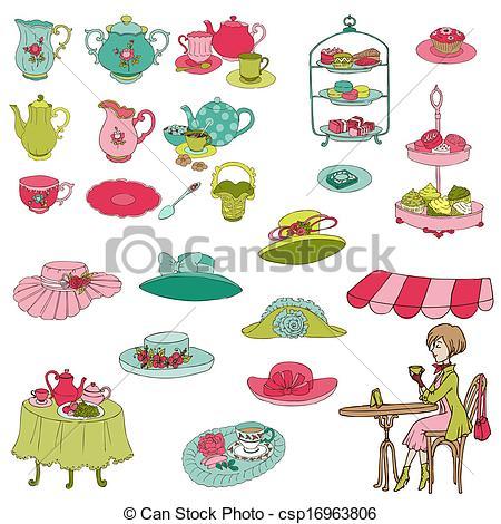Tea Party clipart cartoon Party Set booth English design