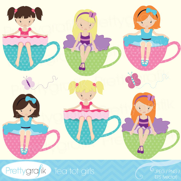 Tea Party clipart cartoon Tea Tea party [CL515] $0