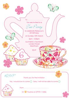 Tea Party clipart children's Printables Pinterest party blank printable