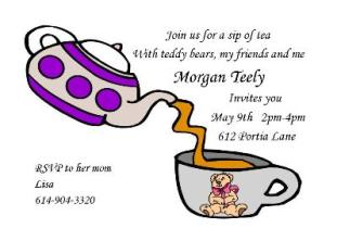 Tea Party clipart dinner with friend Invitations Tea Party Children Party