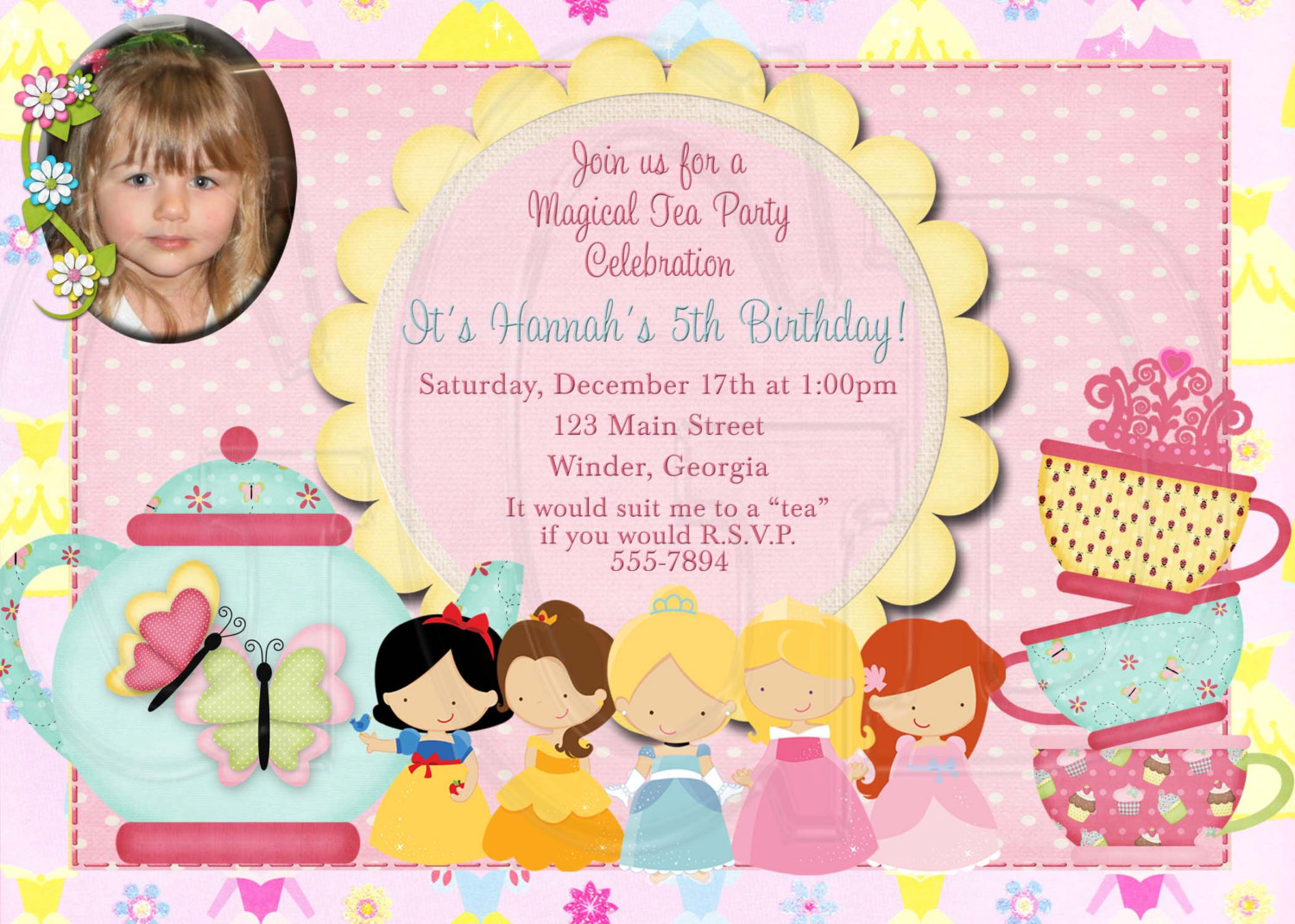 Tea Party clipart disney princess Invitation Princess Digital Birthday Princess