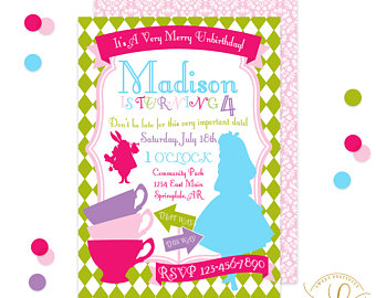 Tea Party clipart merry unbirthday Alice unbirthday Invitation Merry Merry