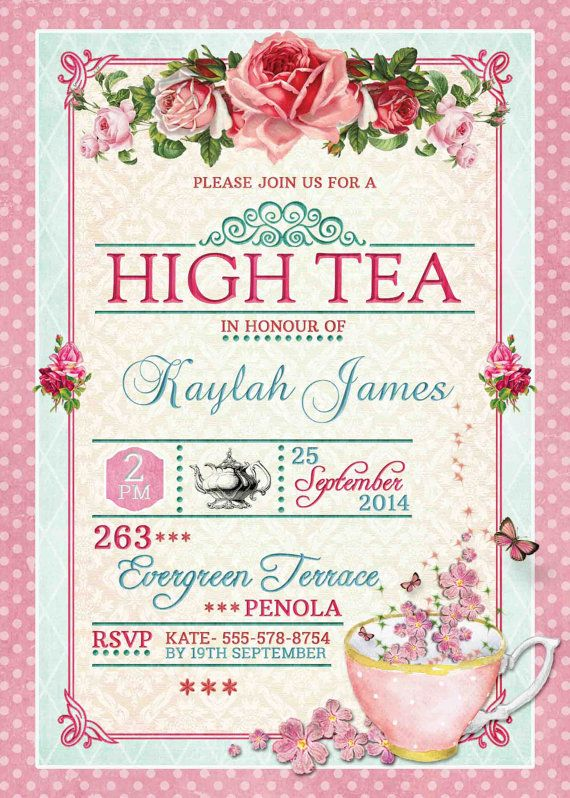Tea Party clipart office lunch Birthday Pink Floral Best Pinterest