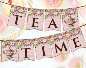 Tea Party clipart party banner Download Decorations Party Instant Etsy