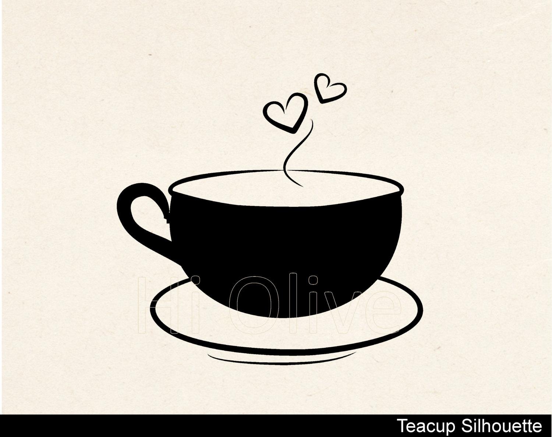 Teacup clipart silhouette Teacup is vector clip a