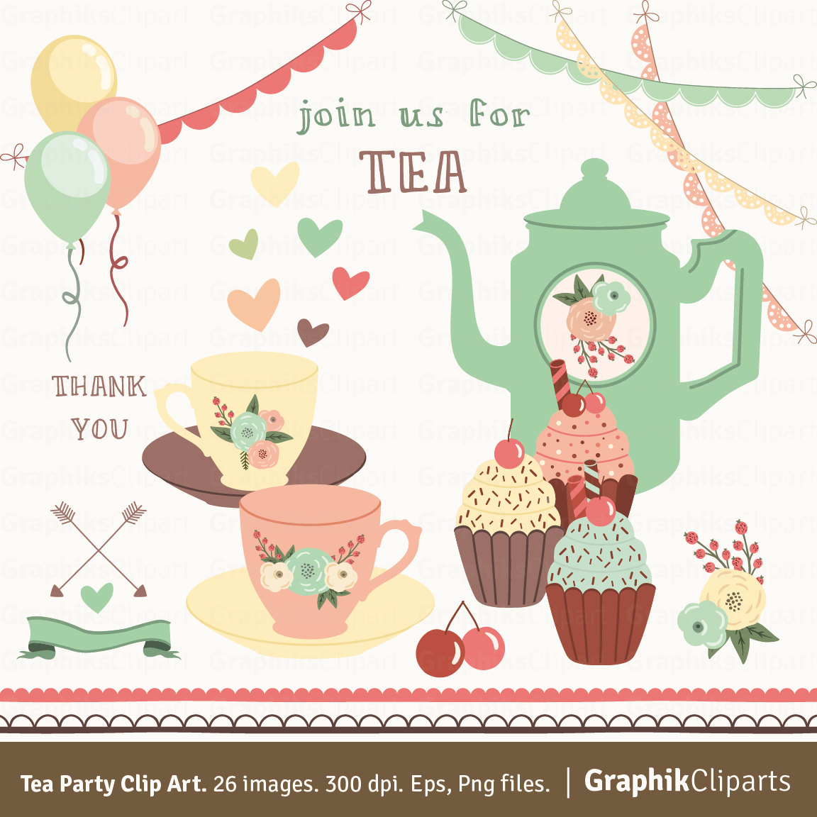 Tea Party clipart spring tea Clip is Party digital Spring