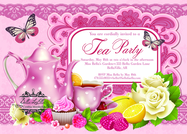 Tea Party clipart spring tea Invitations Party Party Bella Invitations