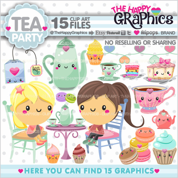 Tea Party clipart spring tea COMMERCIAL Tea Graphics Clipart USE