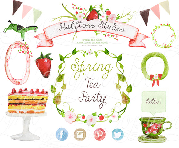 Pink Flower clipart spring tea Art Party Creative  Party