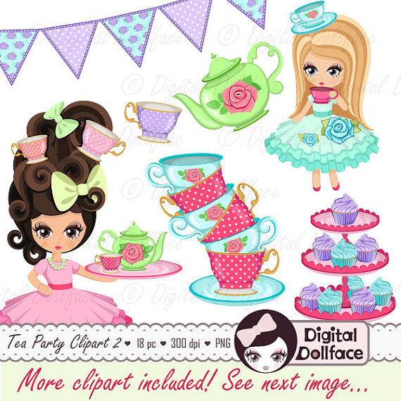 Tea Party clipart stacked Tea Printable Stacked Il_570xn Party